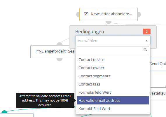 "Mautic Kampagnen-Bedingung ""has valid email address"""